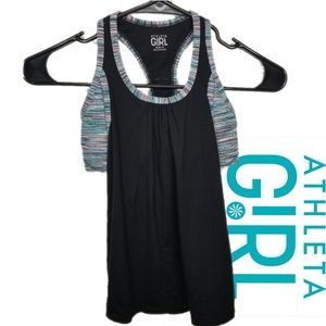 Athleta Girl M 8-10 top with shell bra black